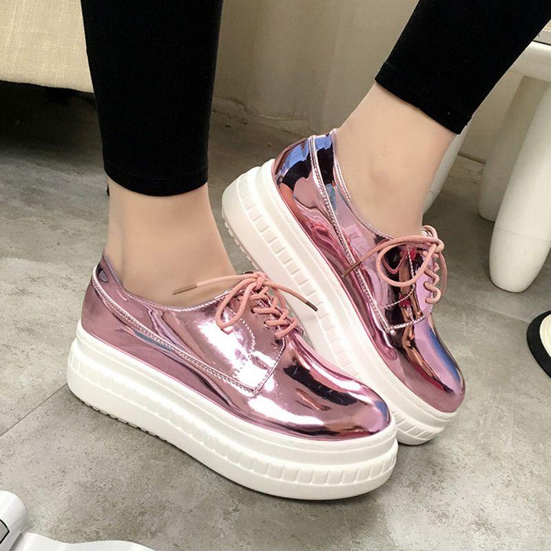 Zapatos de Mujer Hecho A Mano de Cuero de Patente de la manera Diseñador de  Las Señoras de Los Holgazanes Planos Zapatos de Plataforma Para Las Mujeres  ...