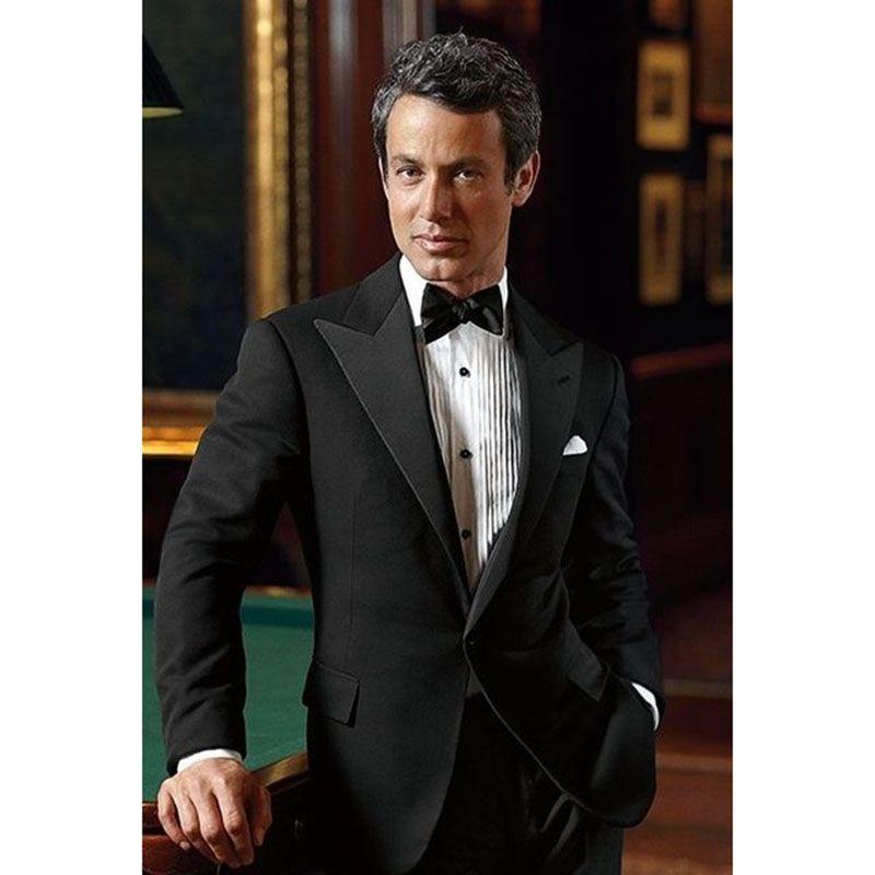 2017 Latest Coat Pant Designs Black men wedding suits Prom Tuxedo ...