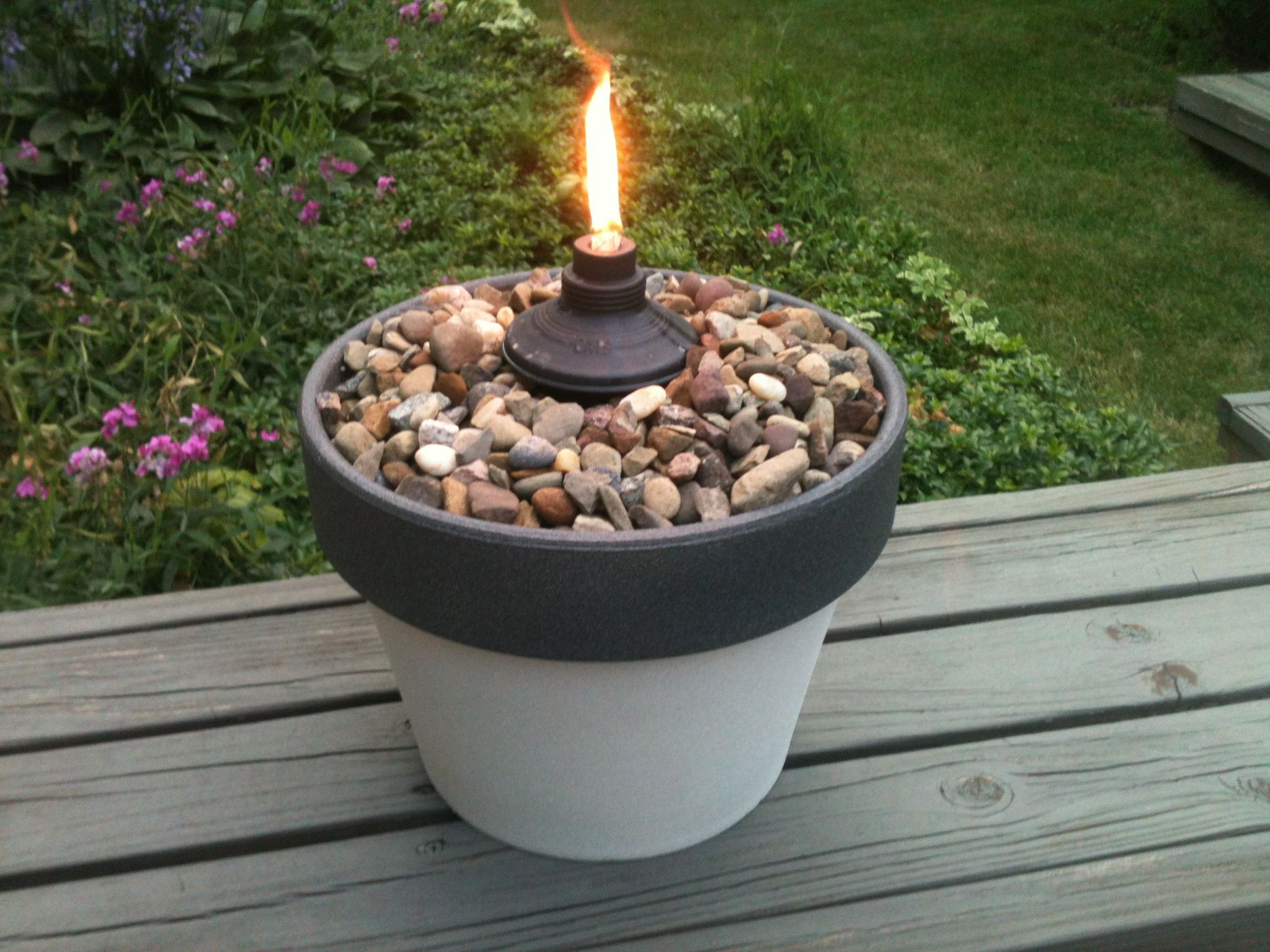 Table Tiki Torch Spray Paint Terra Cotta Pot River Pebbles Canister Pretty