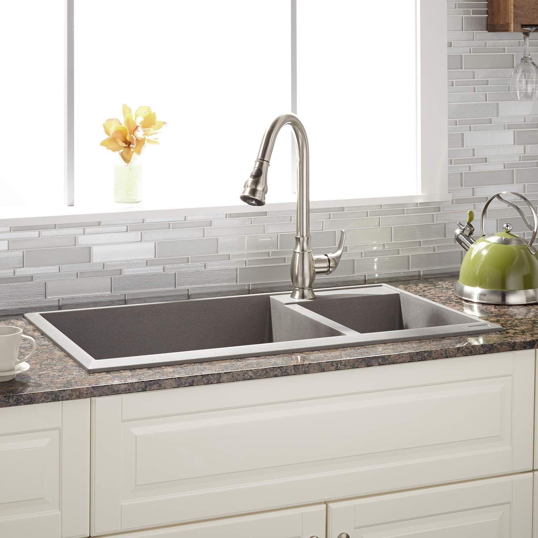 "34"" Arvel 70 30 fset Double Bowl Drop In Granite posite Sink"