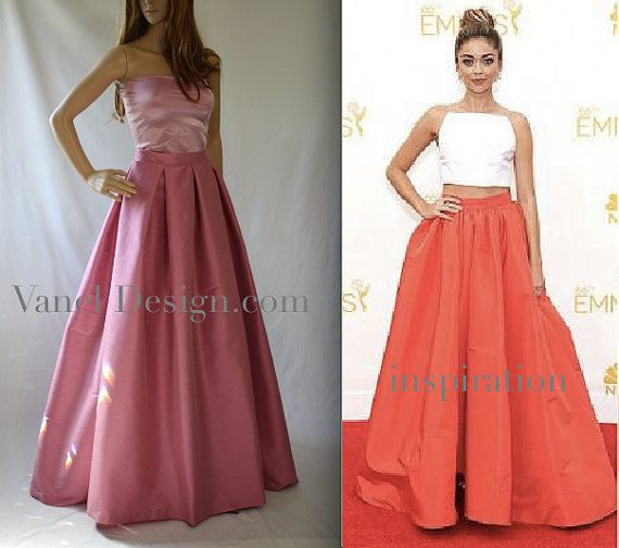 Bridesmaids Long Maxi Skirt with pockets Elegant Pink skirt Famous ...