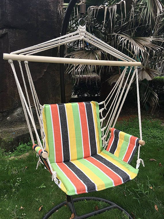 Colorful Indoor Outdoor Hanging rope hammock chair swing