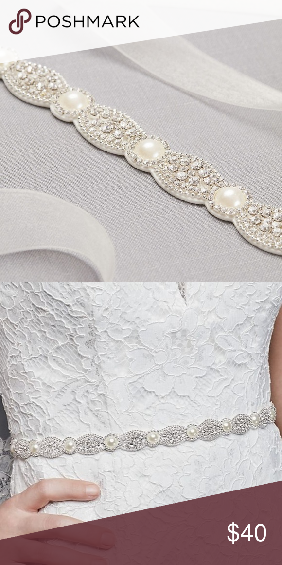 David S Bridal Bridal Belt Pearl And Rhinestone Scalloped