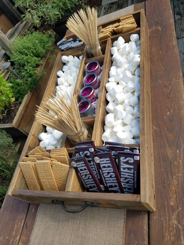 Photo of Large Rustic Wood Smores Bar Station, Smores, S'mores Bar, Party Station, Wedding S'mores Roasting S
