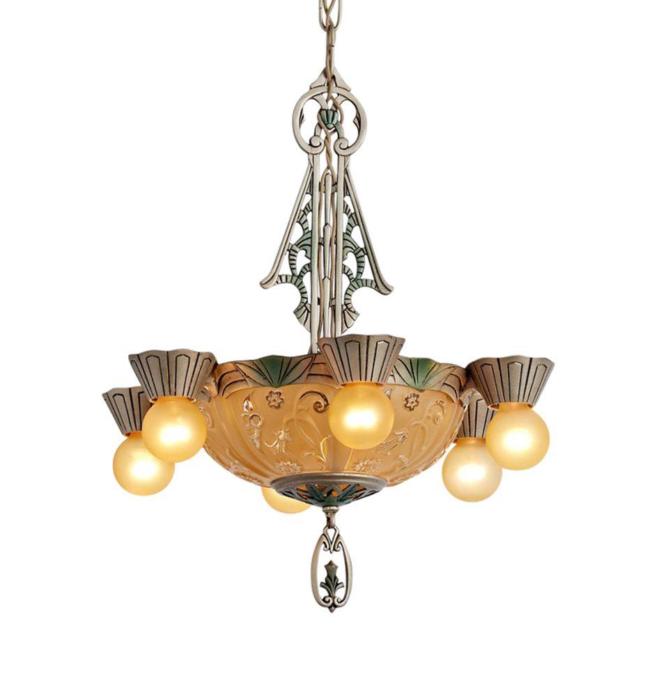 Art deco illuminated glass bowl chandelier w satellites general art deco illuminated glass bowl chandelier w satellites circa 1928 r8847 aloadofball Images