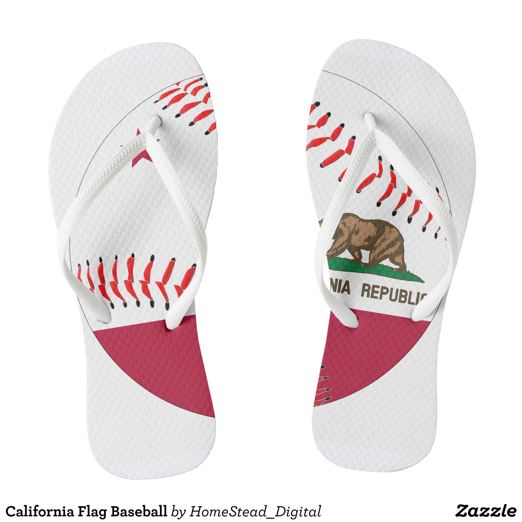 1a10e3853d87a California Flag Baseball Flip Flops - Durable Thong Style Hawaiian Beach  Sandals By Talented Fashion   Graphic Designers -  sandals  flipflops   hawaii ...