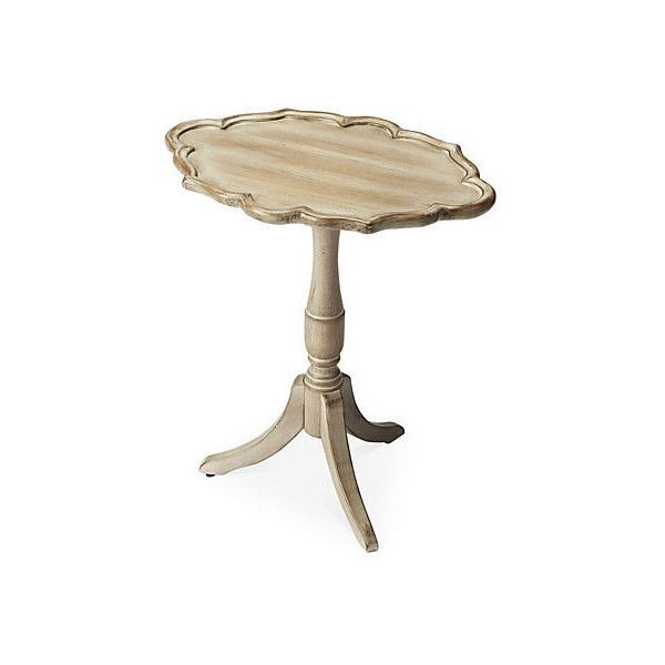 Fleurette Oval Pedestal Table Driftwood Standard Side Tables ($175) ❤ Liked  On Polyvore Featuring