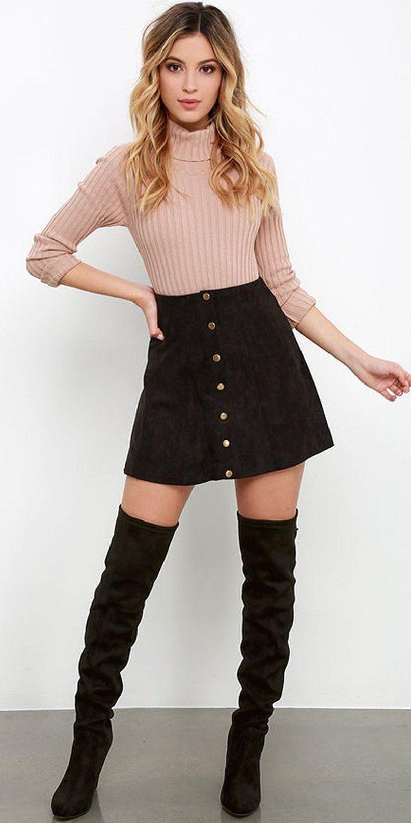 34a52fb07 Black Mini Skirt Winter Outfits - raveitsafe