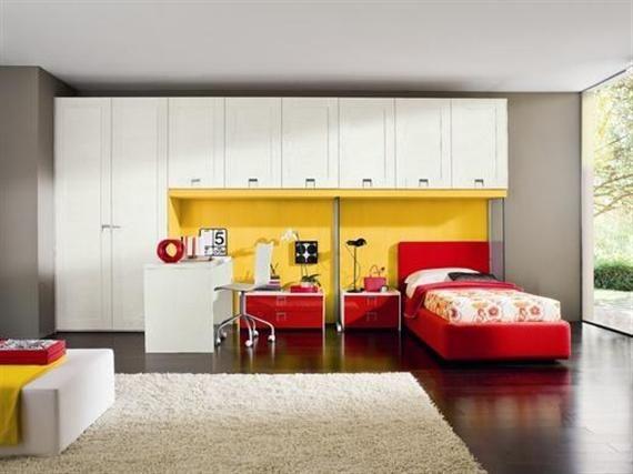 red-white-grey - modern children bedroom color scheme and design ...