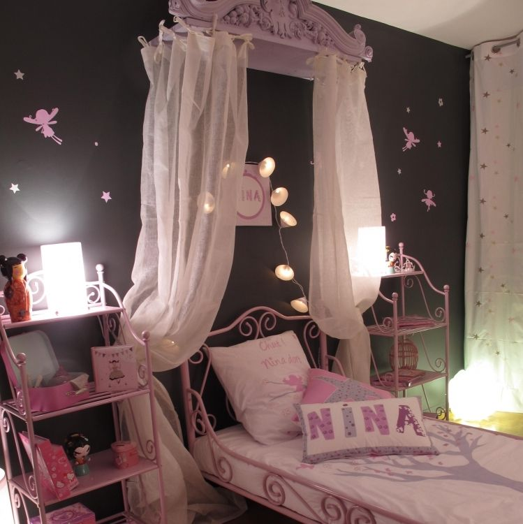 idee chambre fille rose et gris