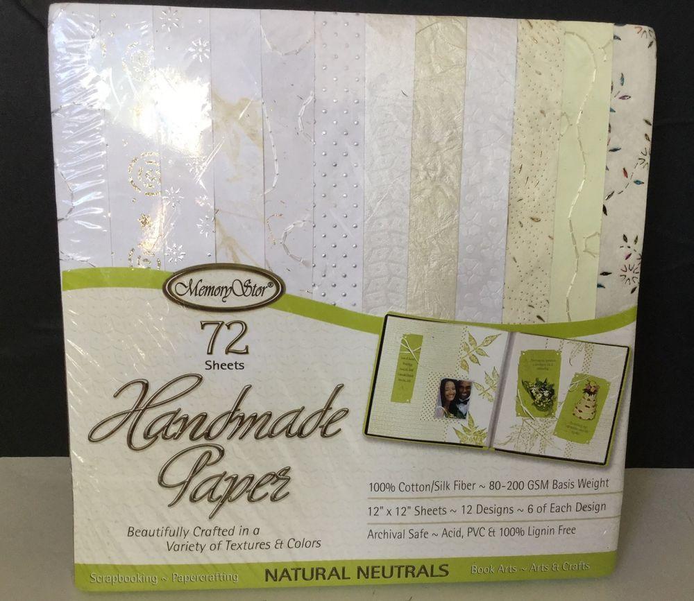 Memory Stor Handmade Cotton Silk Scrap Booking 72 Paper Natural