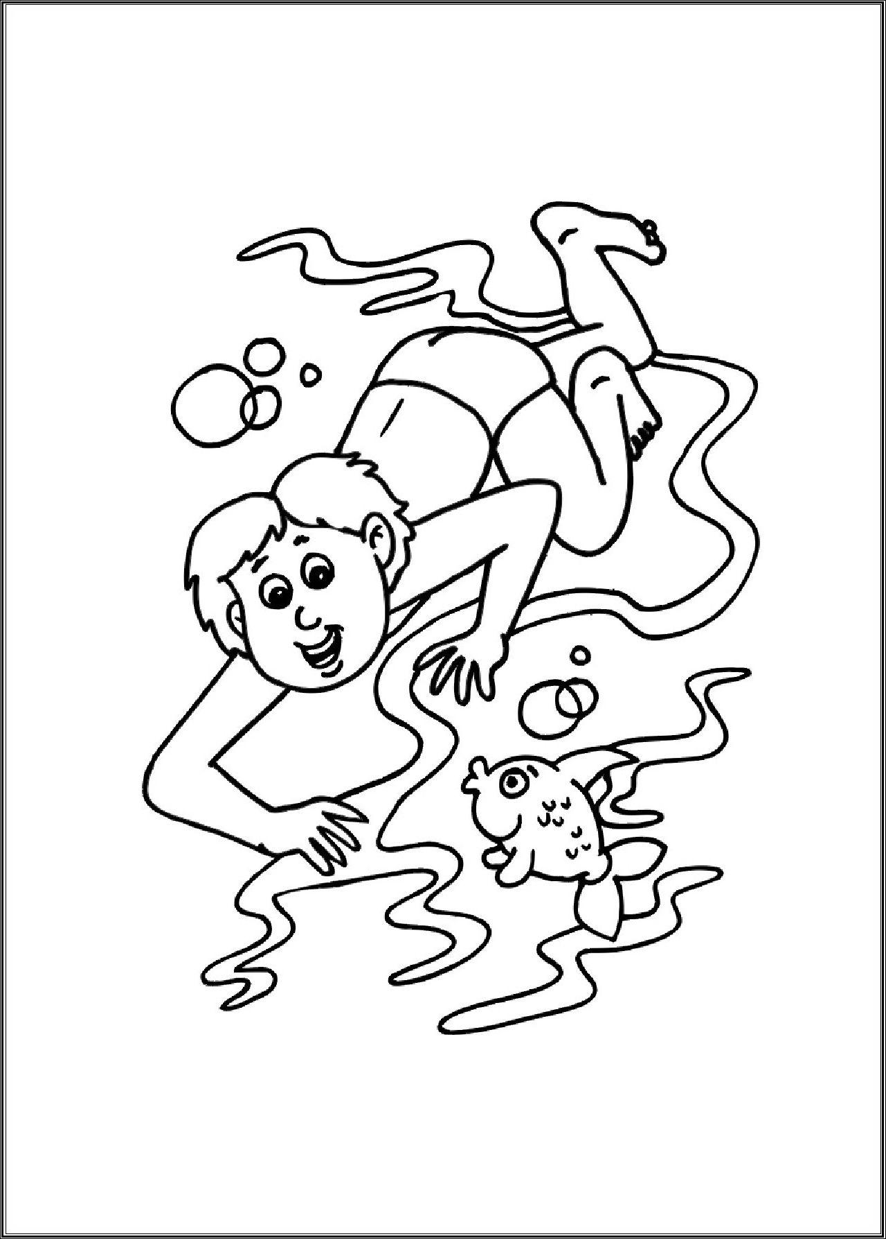 Zwemmen... | * ZOMER & VAKANTIE: kleurplaten! | Pinterest