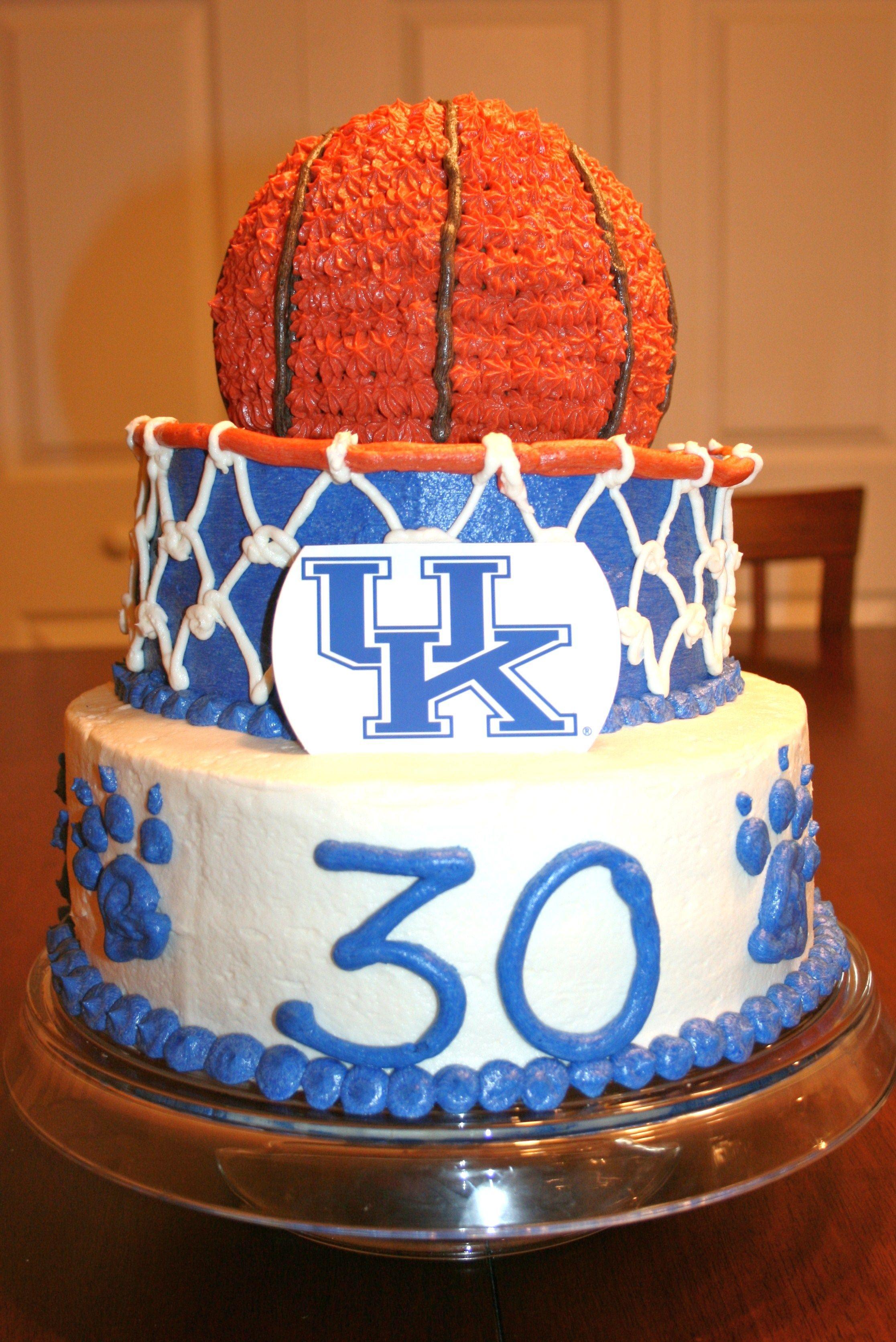 UK Basketball Cake I made for my nephews 30th birthday Decorated