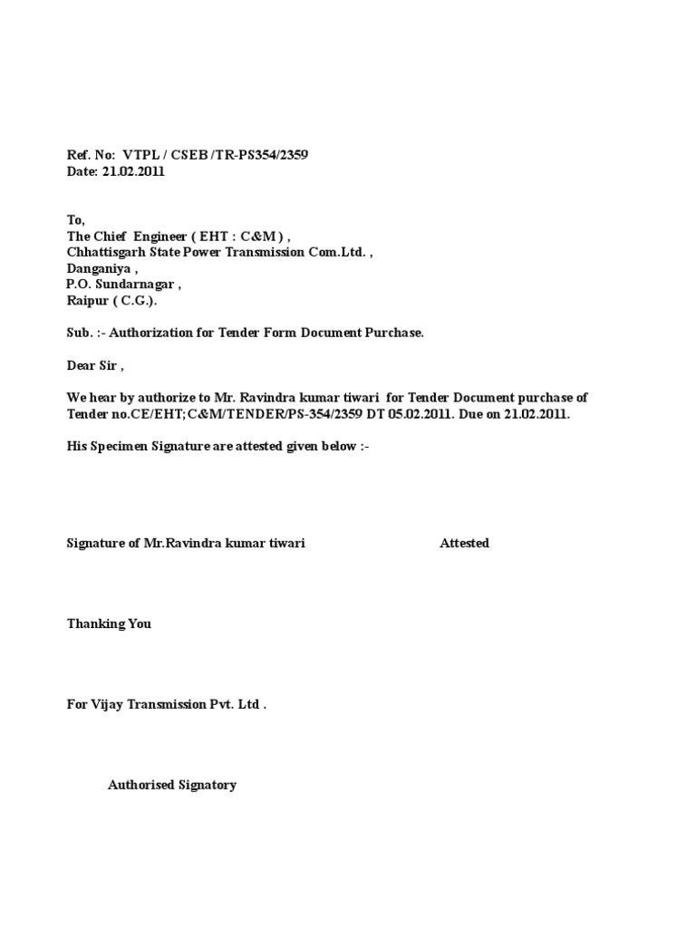 Worksheet Letter For Collection Tender Form Sample Authorization Sample  Authorization Letter To Collect Tender Document