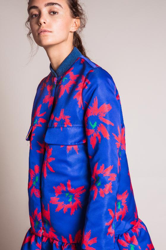 EDIT The Brand SS16 Collection - Colbalt Flower Print Satin Peplum Bomber Jacket. Look book.