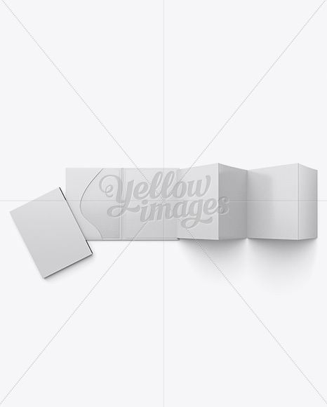 Folded Brochure With Case Mockup - Top View Stationery Mockups - folded brochure