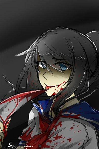 warmup colored sketch of yandere chan