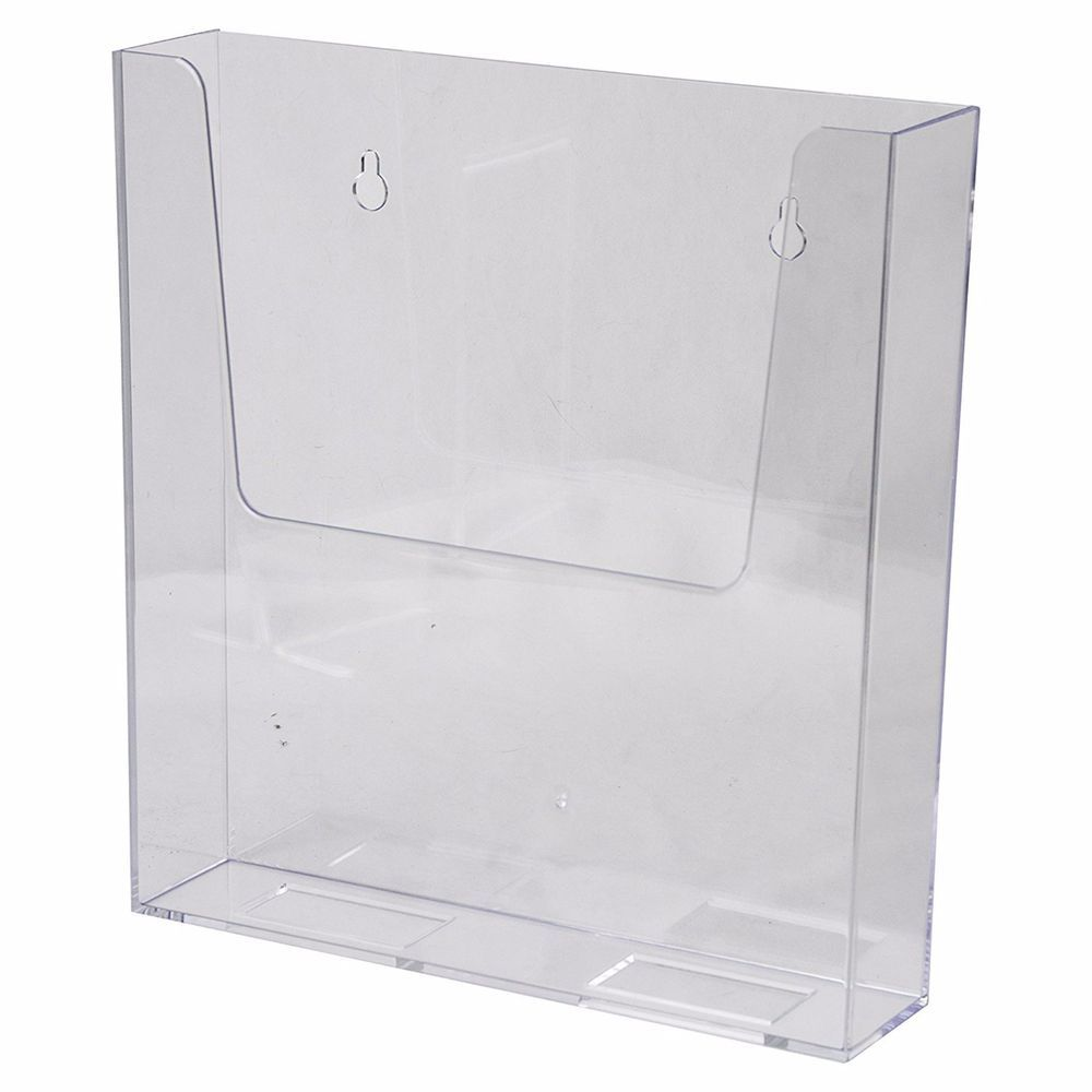 Wall Mount Sign Brochure Holder 8 5x11 Clear Plastic Top Quality Azm Display 702669510066 Ebay Brochure Holders Plastic Hanging Work Space Organization