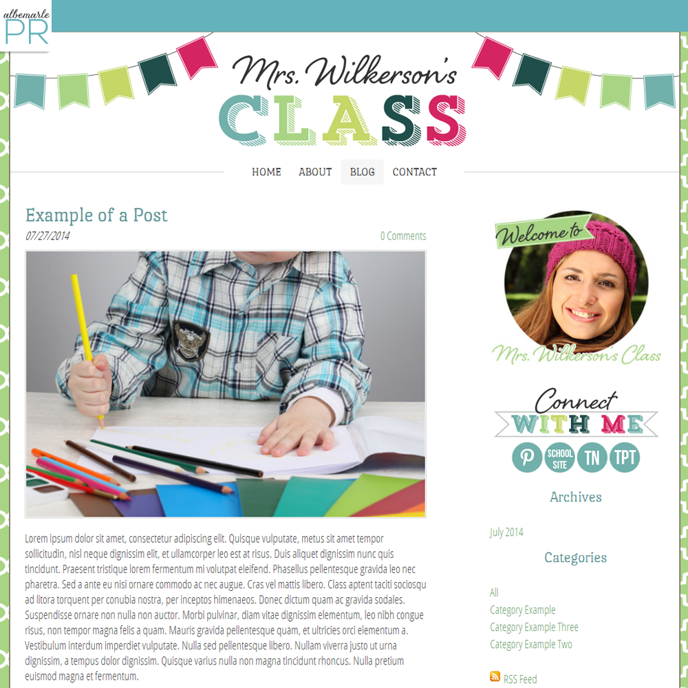colorful bunting classroom blog weebly template for teachers