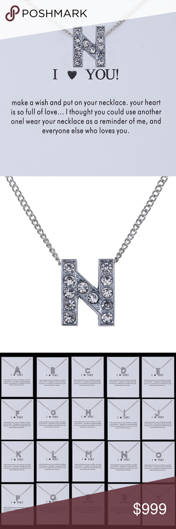 Letter N Initial Monogram Charm Necklace Monogram Initial Necklace Silver Monogram Monogram Charms