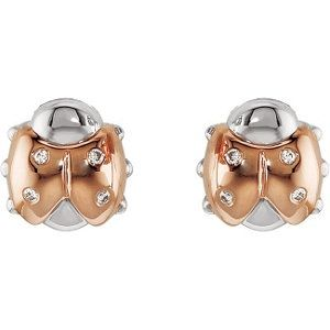 S Jewellery Rose Gold And Diamond Ladybug Earrings With Backs