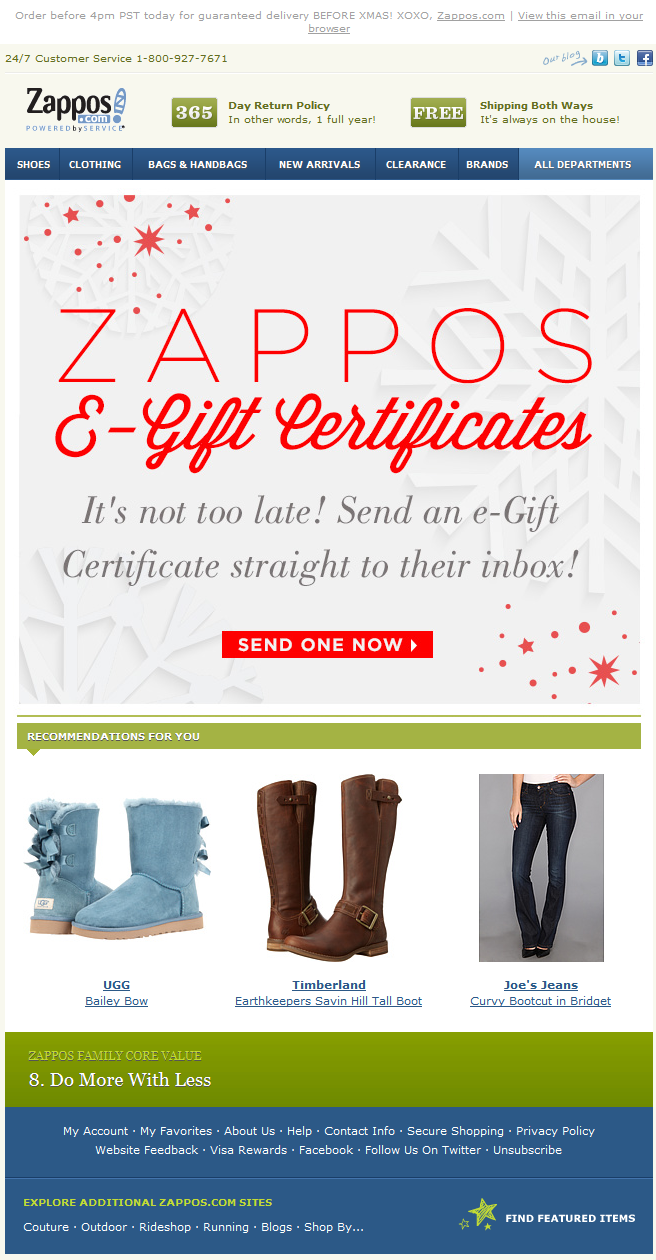 Zappos Holiday E Gift Certificates For Last Minute Gifts