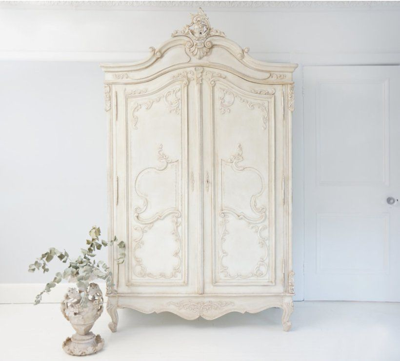 Charmant Delphine Distressed White #French Armoire Wardrobe Hand Carved (Wardrobe) |  Image 2