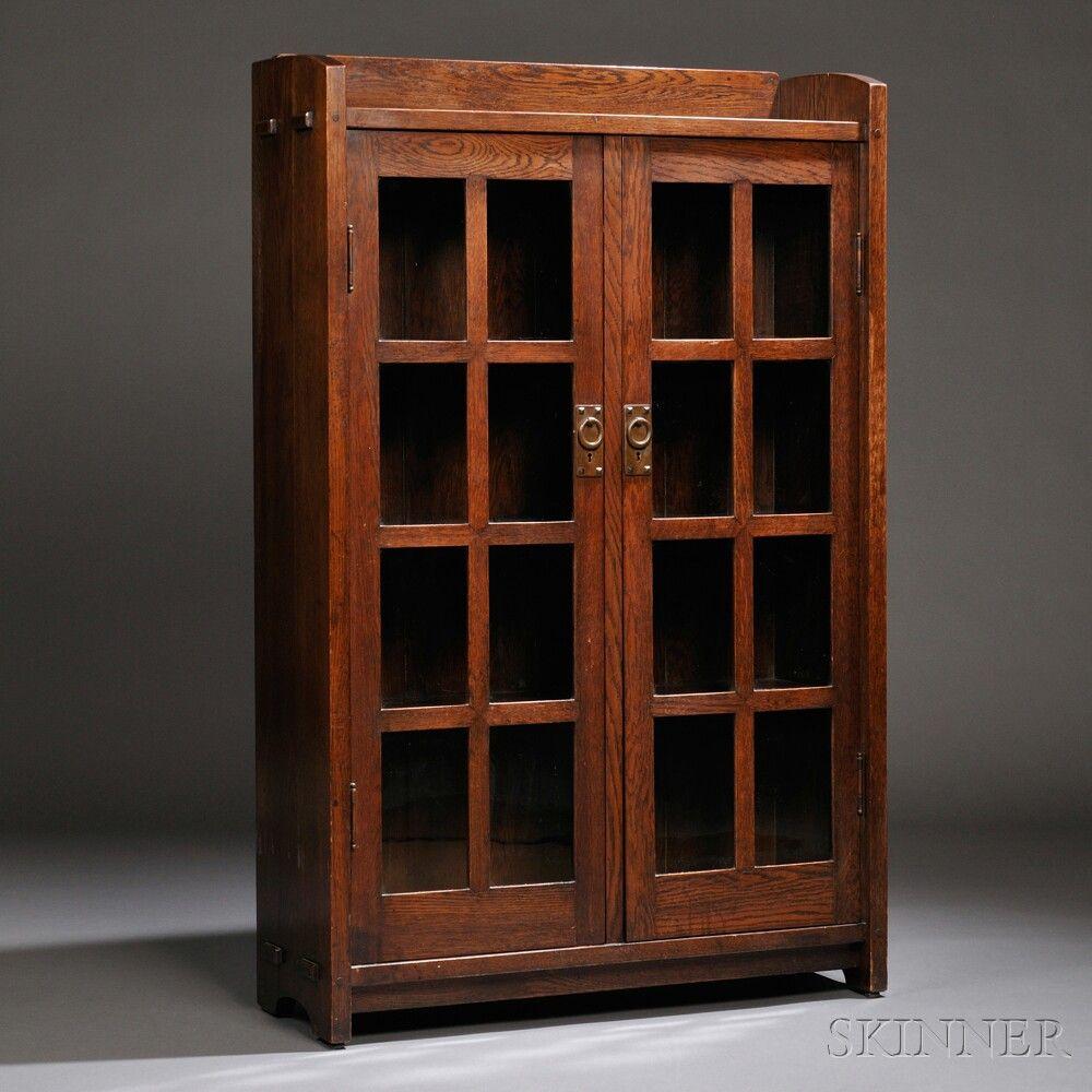 Gustav Stickley Bookcase Oak New York C 1902 Gallery Top With