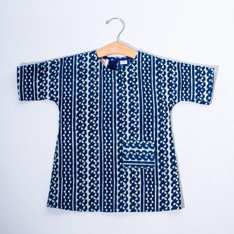 Toddler Dolman Dress - Blue & White