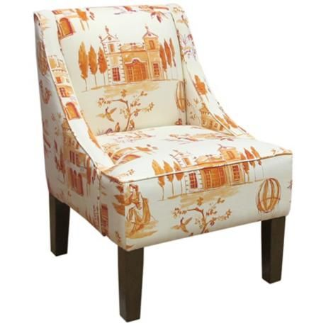 Villa Tangerine Fabric Swoop Arm Chair
