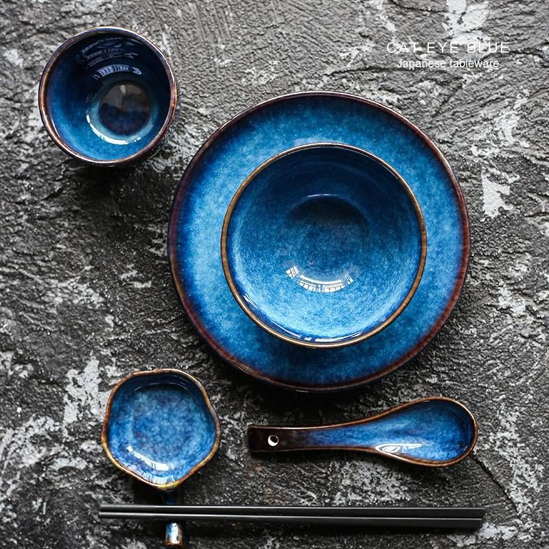 5pcs Per Set Deep Blue Ceramic Tableware 1 Person Dinner Set Plate Bowl Cup Sauce Dish Porcelain Tableware Ceramic Tableware Blue Ceramics Ceramic Dinner Set