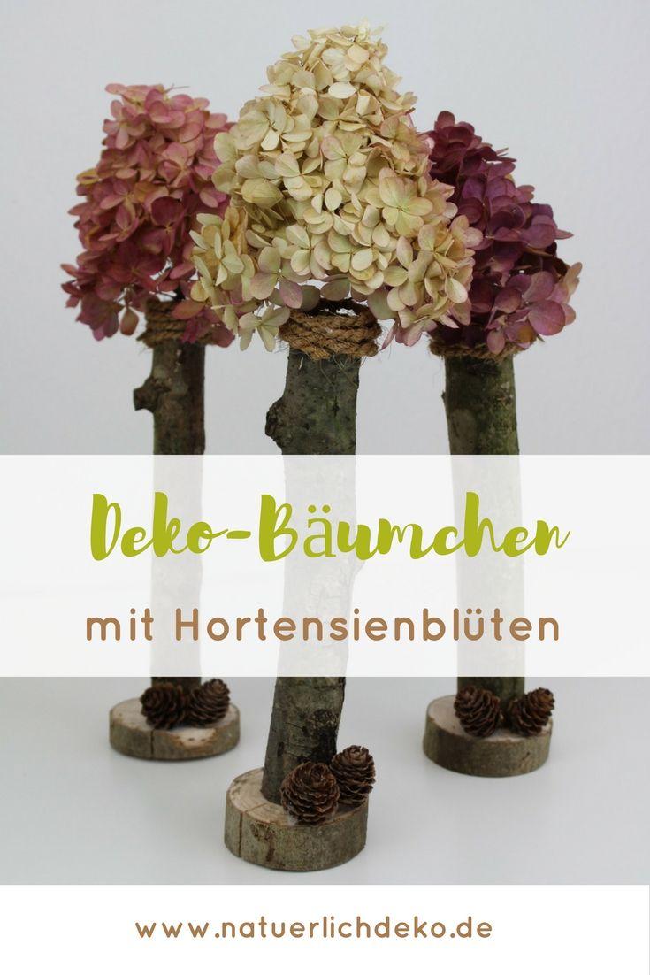deko b umchen mit hortensienbl ten nat rlich deko deko mit naturmaterialien deko. Black Bedroom Furniture Sets. Home Design Ideas