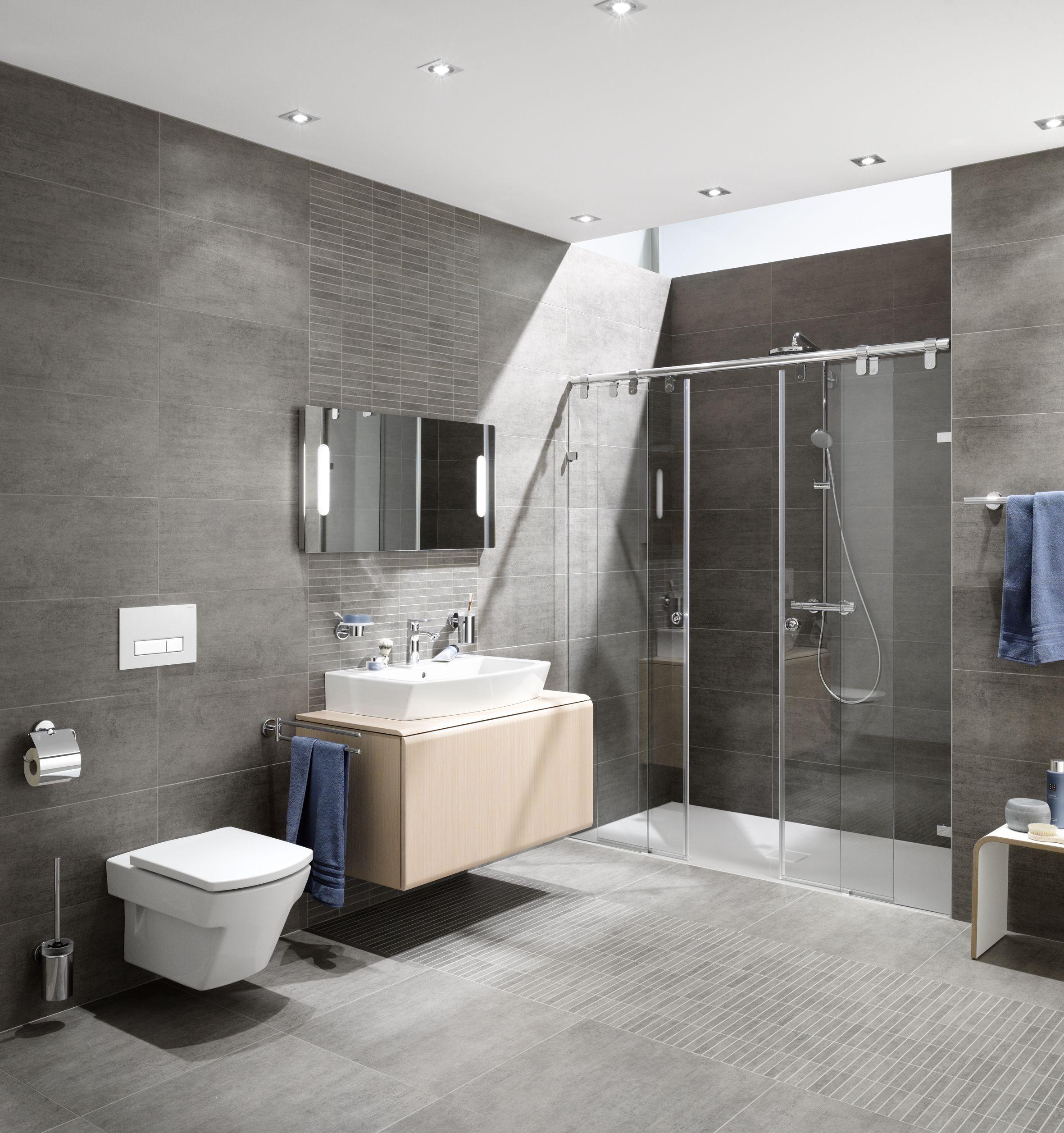 Betonoptik Im Badezimmer Badezimmer Muster Graue Badfliesen Badezimmer Beispiele