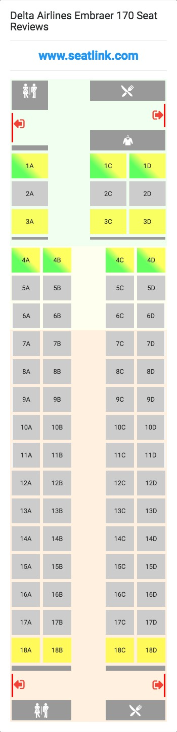 Delta Airlines Embraer 170 E70 Seat Map Delta Airlines Seating Charts American Airlines
