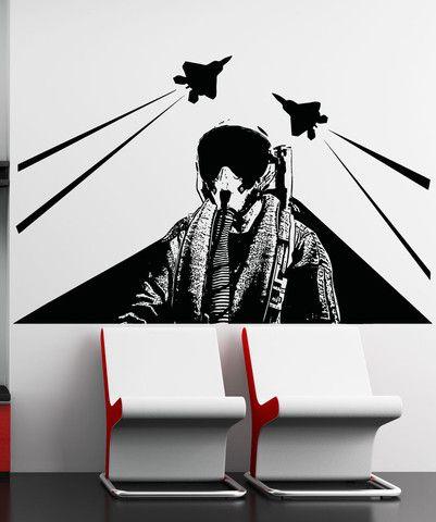 Vinyl Wall Decal Sticker Jet Pilot #5013 | Stickerbrand wall art decals, wall graphics and wall murals.