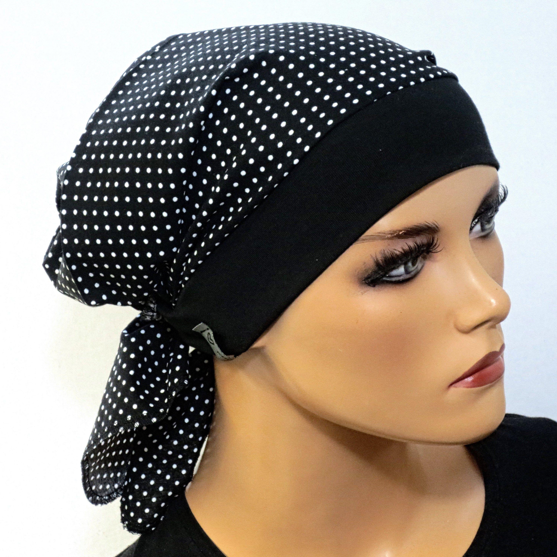 Einzigartige Kopftuchmütze//Chemomütze  schwarz weiß Chemo Turban Chemokopftuch