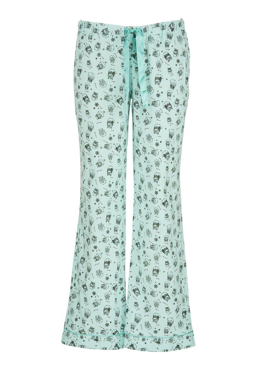 owl print flannel pants