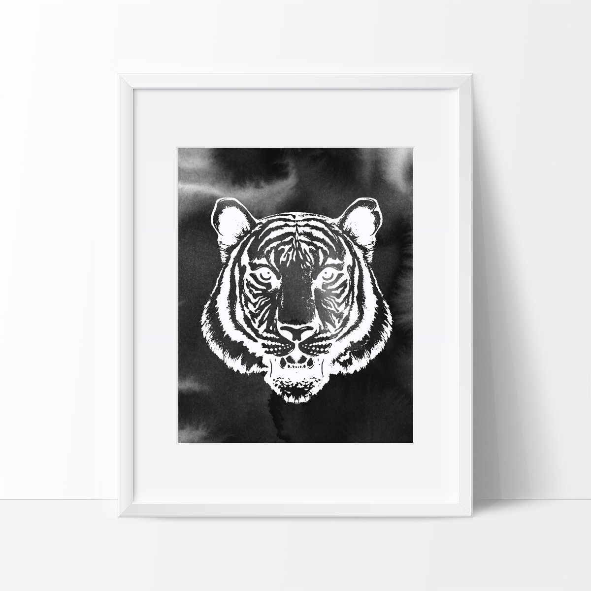 Tiger head with brush strokes in black wall decor ideas pinterest