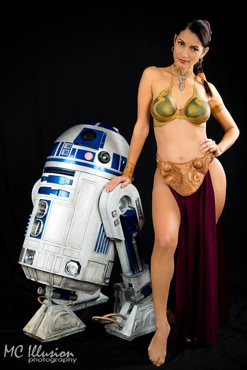 6acadb1da Slave Leia Body Paint and R2D2 Body Paint by Mandi Ilene Photo by MC  Illusion…