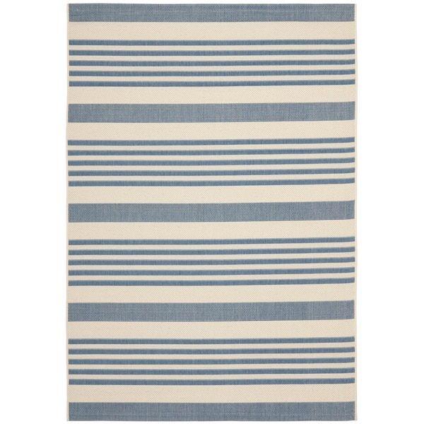 Safavieh Courtyard Stripe Beige/ Blue Indoor/ Outdoor Rug | Overstock.com  Shopping