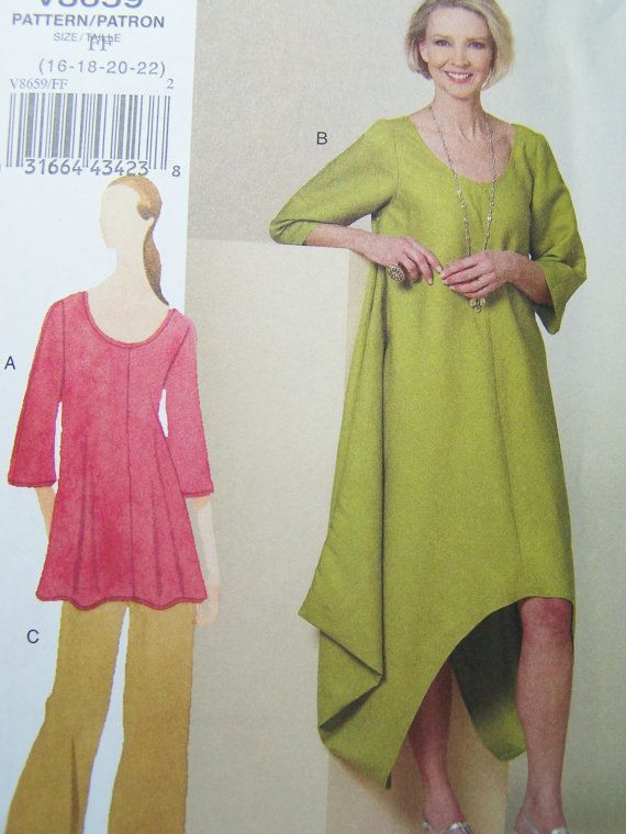 Vogue V8659 Sewing Pattern Womens Dress Tunic And Pants Caftan