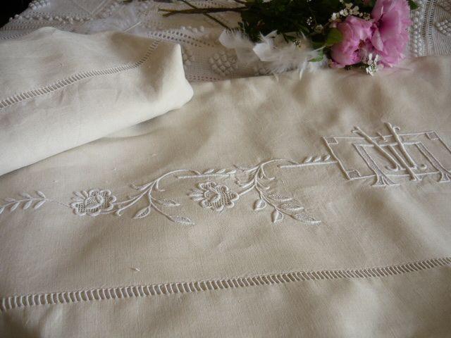 linge de maison draps lit Linge ancien, antiquités, mercerie ancienne au Souffle d'Antan  linge de maison draps lit