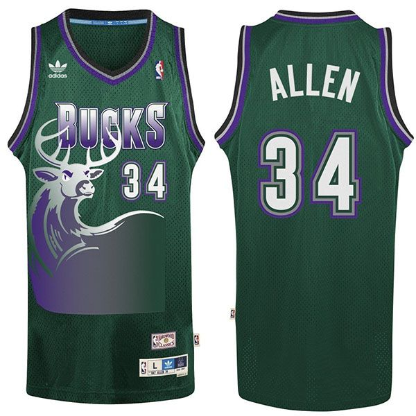 online store d8a87 dc81a Ray Allen Bucks Jersey #34 Green | Milwaukee Bucks ...