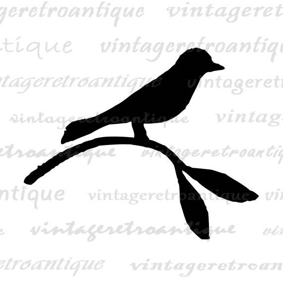 A printable bird silhouette graphic from antique artwork ...