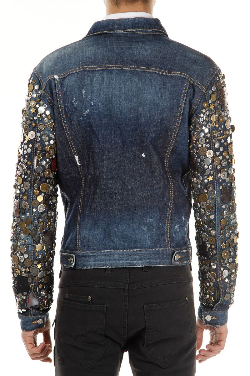 b1a189215 Dsquared2 Men Denim Jacket with exlusive Studded Sleeves - Spence Outlet