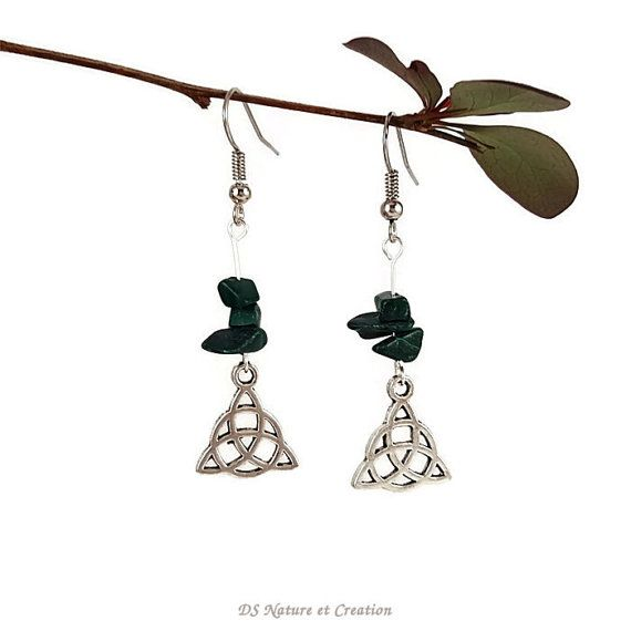 Whimsical silver dangle earrings malachite by DSNatureetCreation https://www.etsy.com/listing/291549567/whimsical-silver-dangle-earrings
