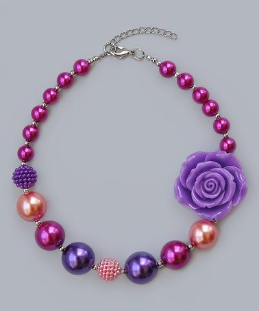 Look at this #zulilyfind! Pink & Lilac Rose Beaded Necklace #zulilyfinds