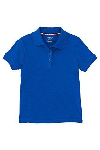 38d00f4e12c French Toast Short Sleeve Interlock With Picot Collar (Feminine Fit) Girls  True Royal Blue 10-1 2 Plus