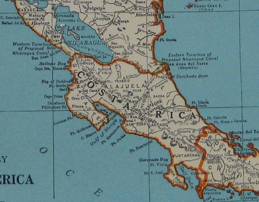 1939 Antique CENTRAL AMERICA Map 1930s Costa Rica Map Guatemala