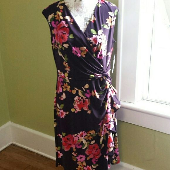 d2430aab518 Chaps faux wrap Dress. NWT Deep purple floral print